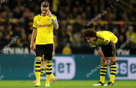 Dortmund's Marco Reus and Dortmund's Axel Witsel react during the German Bundesliga soccer match between Borussia Dortmund and SV Werder Bremen in Dortmund, Germany, 28 September 2019.