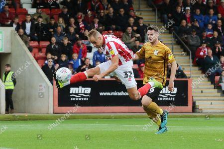 Luke Varney shoots wide  during the EFL Sky Bet League 2 match between Cheltenham Town and Crewe Alexandra at Jonny Rocks Stadium, Cheltenham