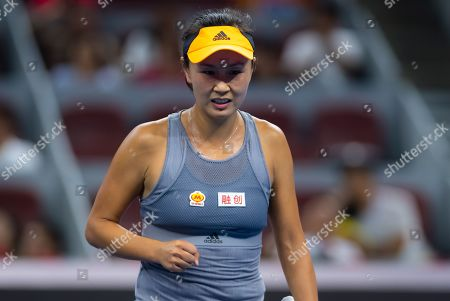 Stock Photo of Shuai Peng of China in action during her first-round match