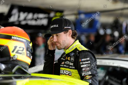 Ryan Blaney waits during practice for Sunday's NASCAR Cup Series auto race at Charlotte Motor Speedway in Concord, N.C