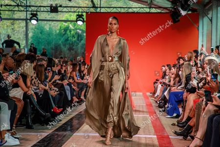 French model Cindy Bruna presents a creation by Lebanese designer Elie Saab during the Paris Fashion Week, in Paris, France, 28 September 2019. The presentation of the Spring/Summer 2020 collections runs from 23 September to 01 October 2019.