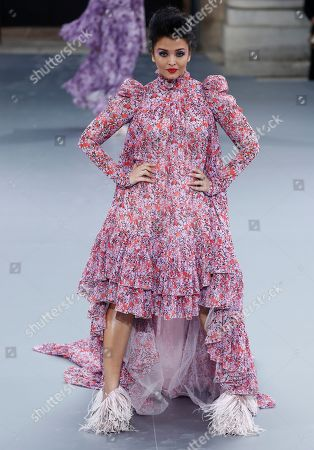Indian actess Aishwarya Rai presents a creation during the L'Oreal fashion show at the Paris Fashion Week, in Paris, France, 28 September 2019. The presentation of the Spring/Summer 2020 collections runs from 23 September to 01 October 2019.