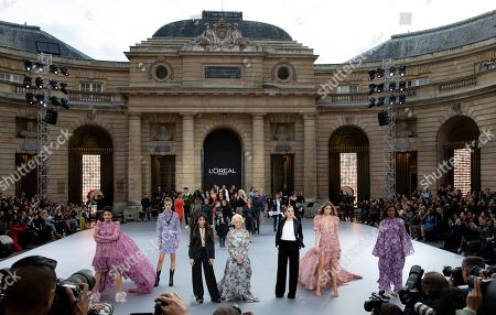 (L-R) Indian actress Aishwarya Rai, a model, Cuban-American singer Camila Cabello, British actress Helen Mirren, US actress Amber Heard, Dutch model Doutzen Kroes and Ethiopian-born model Liya Kebede present creations during the L'Oreal fashion show at the Paris Fashion Week, in Paris, France, 28 September 2019. The presentation of the Spring/Summer 2020 collections runs from 23 September to 01 October 2019.