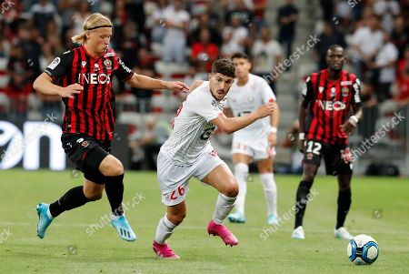 Kasper Dolberg (L) of OGC Nice and Jeremy Pied (R) of Lille OSC in action during the French Ligue 1 soccer match, OGC Nice vs Lille OSC, at the Allianz Riviera stadium, in Nice, France, 28 September 2019.