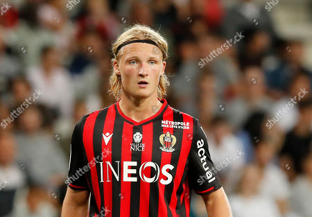 Kasper Dolberg of OGC Nice during the French Ligue 1 soccer match, OGC Nice vs Lille OSC, at the Allianz Riviera stadium, in Nice, France, 28 September 2019.