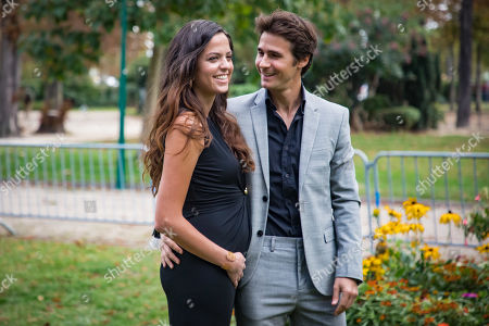 Stock Picture of Alain Delon's daughter Anouchka Delon (L) and Julien Dereims (R) attend the presentation of the Spring/Summer 2020 Ready to Wear collection by Lebanese designer Elie Saab during the Paris Fashion Week, in Paris, France, 28 September 2019. The fashion week runs from 23 September to 1 October 2019.