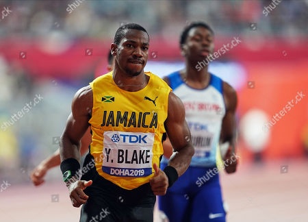 Yohan Blake of Jamaica competing in the 100 meter for men during the 17th IAAF World Athletics Championships at the Khalifa Stadium in Doha, Qatar