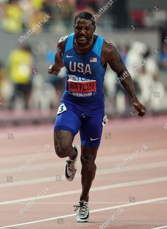 Justin Gatlin of United States competing in the 100 meter for men during the 17th IAAF World Athletics Championships at the Khalifa Stadium in Doha, Qatar