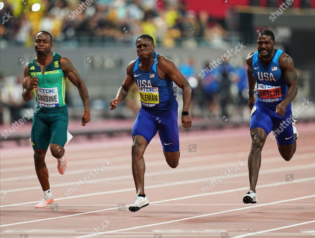 Christian Coleman of United States and Justin Gatlin of United States competing in the 100 meter for men during the 17th IAAF World Athletics Championships at the Khalifa Stadium in Doha, Qatar
