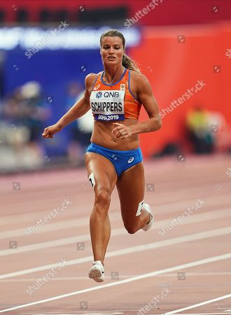Stock Photo of Dafne Schippers of Netherlands competing in the 100 meter for women during the 17th IAAF World Athletics Championships at the Khalifa Stadium in Doha, Qatar