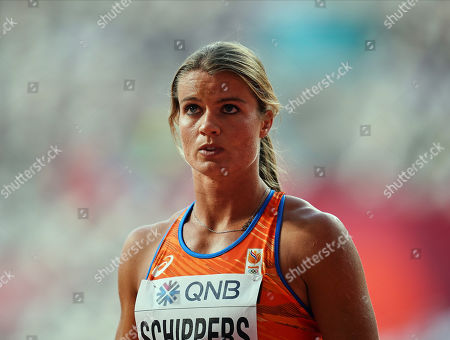 Stock Picture of Dafne Schippers of Netherlands competing in the 100 meter for women during the 17th IAAF World Athletics Championships at the Khalifa Stadium in Doha, Qatar