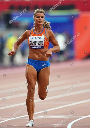 Dafne Schippers of Netherlands competing in the 100 meter for women during the 17th IAAF World Athletics Championships at the Khalifa Stadium in Doha, Qatar