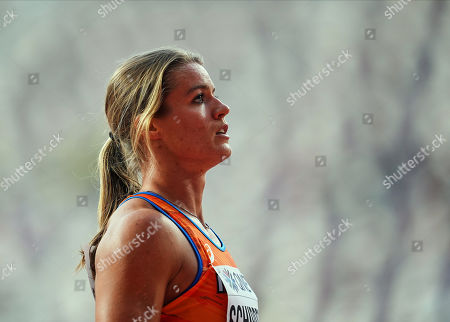 Stock Image of Dafne Schippers of Netherlands competing in the 100 meter for women during the 17th IAAF World Athletics Championships at the Khalifa Stadium in Doha, Qatar