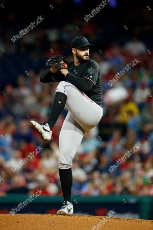 Miami Marlins' Pablo Lopez in action during a baseball game against the Philadelphia Phillies, in Philadelphia