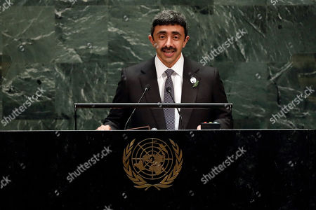 Sheikh Abdullah bin Zayed Al Nahyan, Foreign Minister of the United Arab Emirates, addresses the 74th session of U.N. General Assembly
