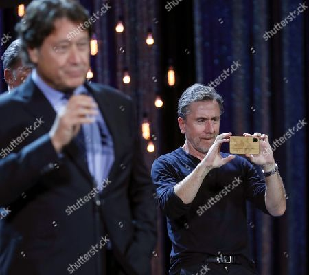 Tim Roth (R) onstage as he presents the movie 'The Song of Names' during the closing ceremony of the 67th San Sebastian International Film Festival (SSIFF), in San Sebastian, Spain, 28 September 2019. The festival runs from 20 to 28 September.