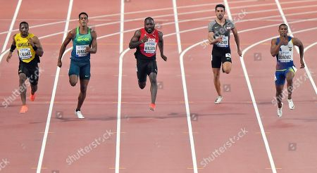 Stock Photo of Yohan Blake, of Jamaica, Aldemir Junior, of Brazil, Alex Wilson, of Switzerland, Noureddine Hadid, of Lebanon, and Alex Qui?ez, of Ecuador, from left to right, compete in the men's 200 meter heats during the World Athletics Championships in Doha, Qatar