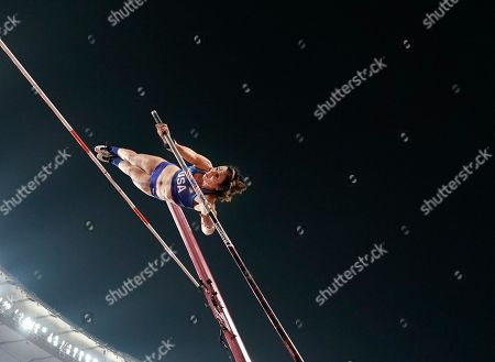 Jennifer Suhr, of the United States, competes at the World Athletics Championships in Doha, Qatar