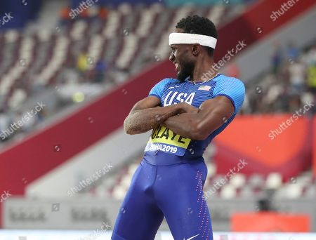 Will Claye, of the United States, competes in the men's triple jump final at the World Athletics Championships in Doha, Qatar