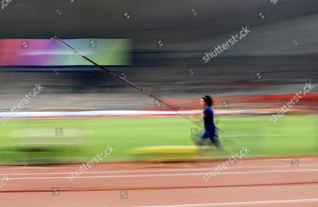 Stock Image of Jennifer Suhr, of the United States, warms up at the World Athletics Championships in Doha, Qatar
