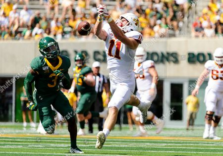 Iowa State Cyclones tight end Chase Allen (11) drops a pass while being defended by Baylor Bears safety Chris Miller (3) during the 1st half of the NCAA Football game between Iowa State Cyclones and the Baylor Bears at McLane Stadium in Waco, Texas