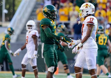 Baylor Bears safety Chris Miller (3) shake the hand of Iowa State Cyclones defensive back Richard Bowens III (17) at the end of the 2nd half of the NCAA Football game between Iowa State Cyclones and the Baylor Bears at McLane Stadium in Waco, Texas