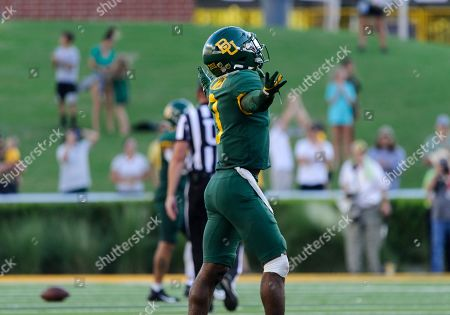 Baylor Bears safety Chris Miller (3) celebrates Baylor breaking up a pass at the end of the 2nd half of the NCAA Football game between Iowa State Cyclones and the Baylor Bears at McLane Stadium in Waco, Texas