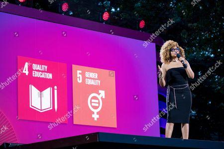 Taraji P. Henson speaks during the 2019 Global Citizen Festival, in New York