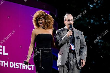 U.S. Rep. Eliot Engel, D-NY, addresses the crowd alongside actress Taraji P. Henson at the 2019 Global Citizen Festival, in New York