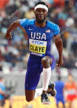 Will Claye of the USA competes in the men's Triple Jump final of the IAAF World Athletics Championships 2019 at the Khalifa Stadium in Doha, Qatar, 29 September 2019.
