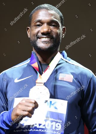 Silver medalist Justin Gatlin of the USA during the award ceremony of the men's 100m competition of the IAAF World Athletics Championships 2019 at the Khalifa Stadium in Doha, Qatar, 29 September 2019.