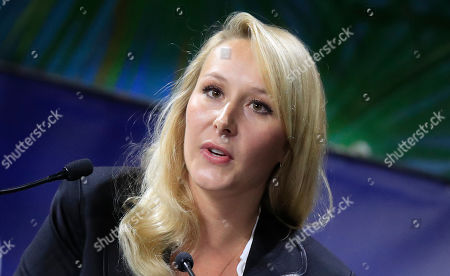 """Stock Picture of Marion Marechal, niece of far-right leader Marine Le Pen speaks at the Convention of the Right, in Paris, . The Convention of the Right, a first ever gathering of rebel representatives of the mainstream right and the far right. Among their goals is to defeat the """"progressives"""" of centrist President Emmanuel Macron"""