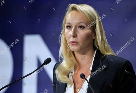 """Stock Photo of Marion Marechal, niece of far-right leader Marine Le Pen speaks at the Convention of the Right, in Paris, . The Convention of the Right, a first ever gathering of rebel representatives of the mainstream right and the far right. Among their goals is to defeat the """"progressives"""" of centrist President Emmanuel Macron"""