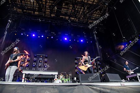 Lzzy Hale Arejay Hale Joe Hottinger Josh Smith. Joe Hottinger, from left, Arejay Hale, Lzzy Hale, and Josh Smith of Halestorm perform during Louder Than Life at Highland Festival Grounds at KY Expo Center, in Louisville, Ky
