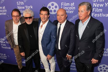 "Stock Picture of Michael Barker, Pedro Almodovar, Antonio Banderas, Agustin Almodovar, Tom Bernard. Co-President, Sony Pictures Classics Michael Barker, from left, director/screenwriter Pedro Almodovar, actor Antonio Banderas, producer Agustin Almodovar, and co-president, Sony Pictures Classics Tom Bernard attend the premiere of ""Pain and Glory"" at Alice Tully Hall during the 57th New York Film Festival, in New York"
