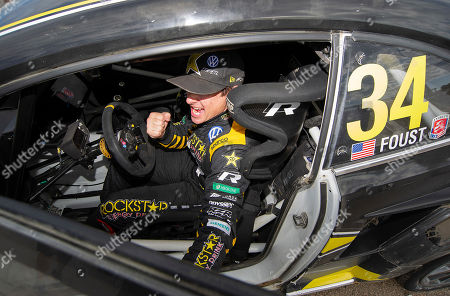Stock Photo of Tanner Foust #34 with team Andretti Rallycross celebrates his win at ARX Americas Rallycross, Circuit of the Americas. Austin, Texas