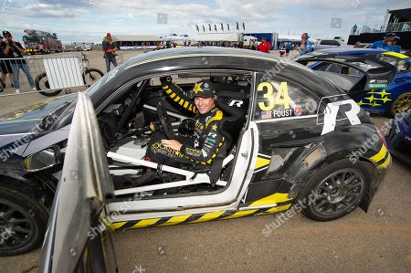 Tanner Foust #34 with team Andretti Rallycross celebrates his win at ARX Americas Rallycross, Circuit of the Americas. Austin, Texas