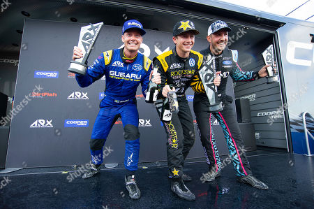 Patrik Sandell #18, Tanner Foust #34 and Steve Arpin #00 celebrate winning at ARX Americas Rallycross, Circuit of the Americas. Austin, Texas