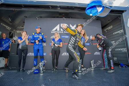Tanner Foust #34 (Center) with team Andretti Rallycross celebrates his win at ARX Americas Rallycross, Circuit of the Americas. Austin, Texas