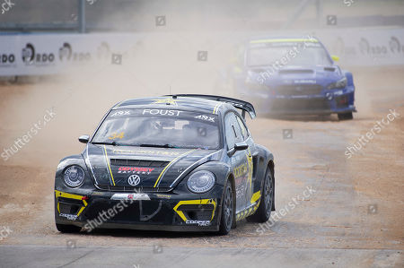 Tanner Foust #34 with team Andretti Rallycross takes the lead during the finals with a win at ARX Americas Rallycross, Circuit of the Americas. Austin, Texas