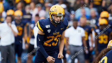 Toledo place kicker Evan Davis (29) in action against the Brigham Young during an NCAA football game on in Toledo, Ohio