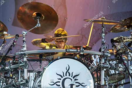 Shannon Larkin of Godsmack performs during Louder Than Life at Highland Festival Grounds at KY Expo Center, in Louisville, Ky