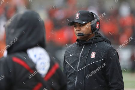 Stock Picture of Stanford head coach David Shaw looks on during the first half of an NCAA college football game against Oregon State in Corvallis, Ore