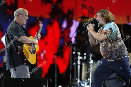 Jack Black (R) performs with musician Kyle Gass (L) and the rock band Tenacius D at Rock in Rio festival in Rio de Janeiro, Brazil, 28 September 2019. The festival runs from 27 September through to 06 October 2019.