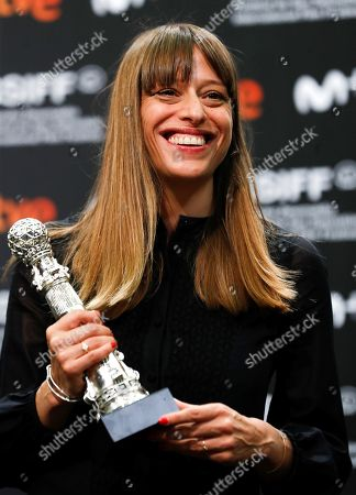 Stock Photo of French screenwriter Alice Winocour poses with an award during the 67th edition of San Sebastian International Film Festival in San Sebastian, Spain, 28 September 2019 (issued 29 September 2019). Winocour was awarded San Sebastian's Special Jury Prize for her feature film Proxima.