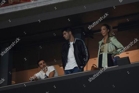 Alvaro Morata of Atletico de Madrid with his wife Alice Campello