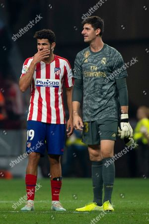 Diego Costa of Atletico de Madrid; Real Madrid's Belgian goalkeeper Thibaut Courtois