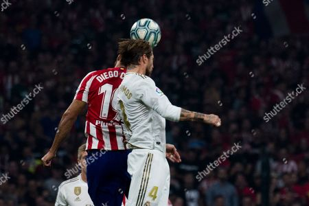 Atletico de Madrid player Diego Costa and Real Madrid player Sergio Ramos