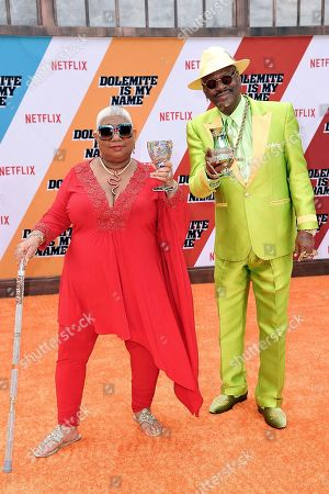 """Luenell, Don """"Magic"""" Juan. Luenell, left, and Don """"Magic"""" Juan attend the LA premiere of """"Dolemite is My Name"""" at the Regency Village Theatre, in Los Angeles"""