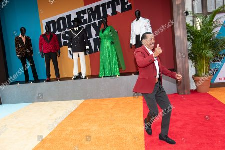 Obba Babatunde dances on the red carpet during the premiere of the Netflix film Dolemite Is My Name at the Regency Village Theatre in Los Angeles, California, USA, 28 September 2019.
